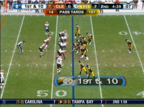 Start of play, 3 wide receivers and 1 tight end with Mendenhall the lone back.