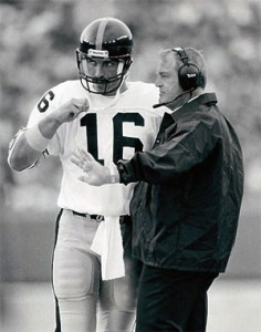 Steelers quarterback Mark Malone and Coach Chuck Knoll