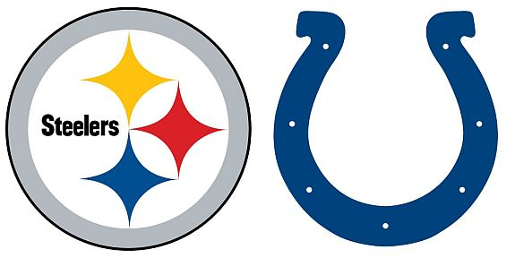 Steelers versus Colts logos